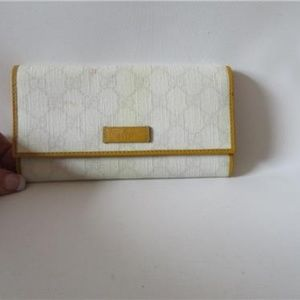 GUCCI WHITE/GREY/TAN LEATHER 'GUCCI'  WALLEt